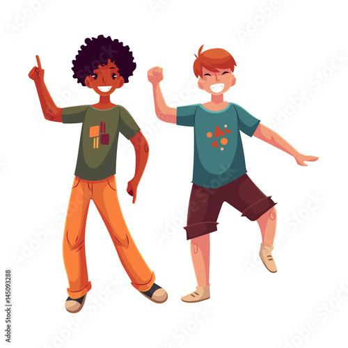 Black And Caucasian Boys Kids Friends Having Fun Dancing At Party Cartoon