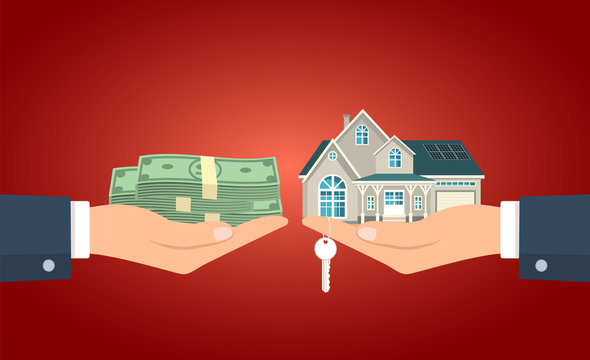 Hand giving the cash to the hand with the house and keys vector illustration.