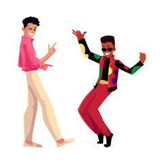 Two men, guys, Caucasian and black, in 1980s style clothes dancing disco, cartoon vector illustration isolated on white background. Men, friends in 80s style clothing dancing at retro disco party