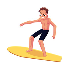 Man riding surfboard, enjoying summer water activities, cartoon vector illustration isolated on white background. Full length portrait of young man in shorts riding surfboard
