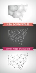 New South Wales collection of vector design modern maps, gray and black and silver dot contour mosaic 3d map