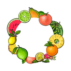 Round frame of tropical fruits with empty place for text, sketch vector illustration on white background. Hand drawn tropical, exotic fruits as round frame, label, banner template, decoration element