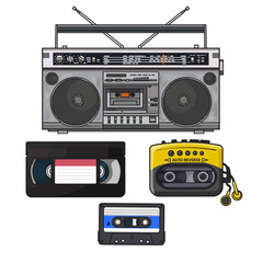 Retro style audio cassette, tape recorder, music player and videotape from 90s, sketch illustration isolated on white background. Hand drawn set of tape recorder, audio and video tape, music player