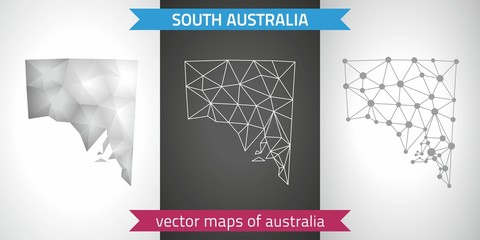 South Australia  set of grey and silver mosaic 3d polygonal maps. Graphic vector triangle geometry outline shadow perspective maps