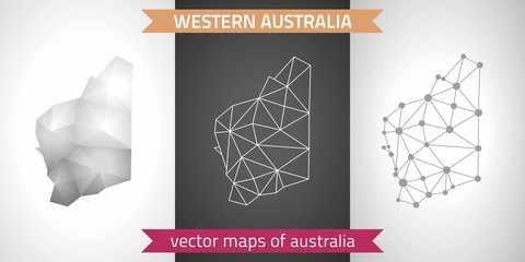 Western Australia collection of vector design modern maps, gray and black and silver dot contour mosaic 3d map