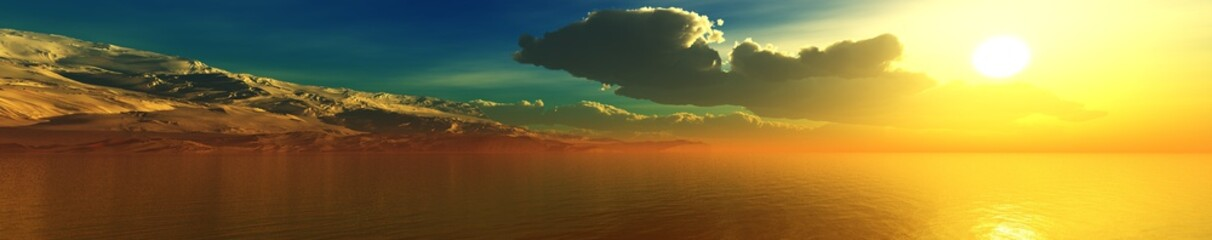 Beautiful panorama of the sea shore at sunset, ocean sunset, sun over the water, 3d rendering