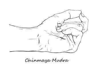 Chinmaya Mudra. Hand drawn illustration of ritual yoga hand gesture.