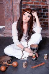 Hippie style portrait of beautiful girl