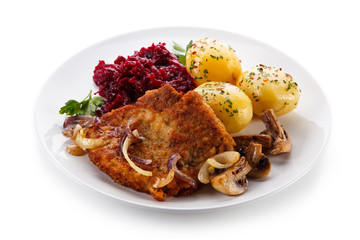 Fried pork chop with potatoes