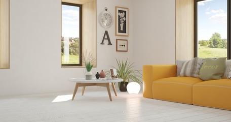 White room with orange sofa and green landscape in window. Scandinavian interior design. 3D illustration