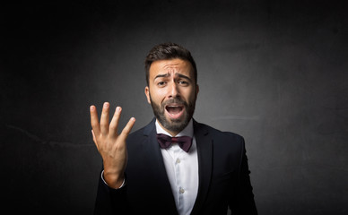 elegant man dramatic singing