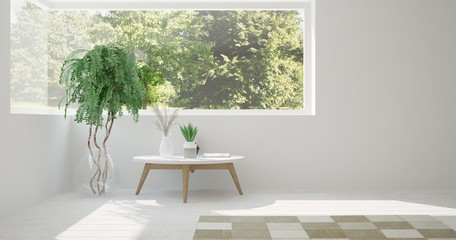 White room with table and green landscape in window. Scandinavian interior design. 3D illustration