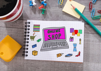 Online shop concept on a notepad