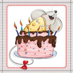Little mouse hugs cake