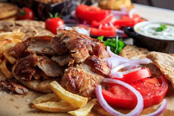 Greek gyros dish on baking paper