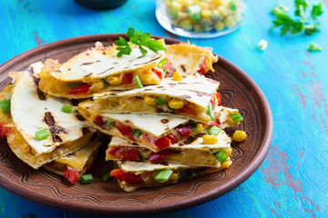 Fresh grilled red bell pepper quesadillas with corn