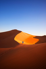 Recess Fitting Magenta Alone in Sahara, Morocco