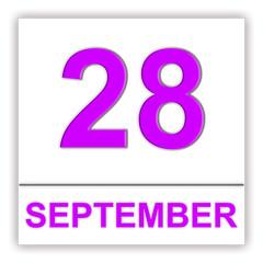 September 28. Day on the calendar.
