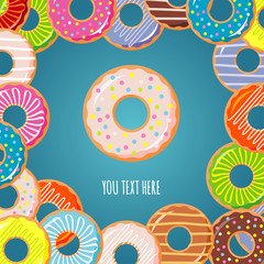 Sweet donut vector Illustration. Banner, card. Donut with glaze. Donut icon.