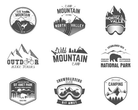 Summer and winter mountain explorer camp badge, logo label templates set. Travel, hiking, climbing style. Snowboard, ski patches. Bike stamp, campsite sign. For web, tee, print. illustration