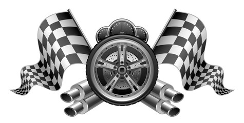 Racing elements flags exhaust pipes wheel speedometer