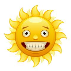 Yellow merry cartoon sun with rays