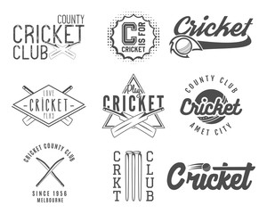 Set of cricket team emblem and design elements. championship logo designs. club badges. Sports symbols with gear, equipment. Use for web or tee  print them