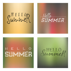lettering and calligraphy halftone modern - Hello summer On a blurred gradient background . Sticker, stamp, logo - hand made