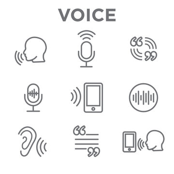 Voiceover or Voice Command Icon with Sound Wave Images