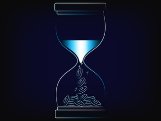sand turning into profits inside an hourglass