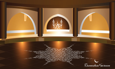 Beautiful  Ramadan background with interior view of a mosque,  ; suitable as a poster or a greeting card , Arabic script translation : Ramdan Kareem