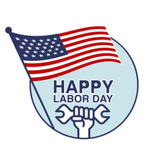 Labor Day, September 7th, American Labor day design. Beautiful USA flag Composition. Labor Day poster design with hand and wrench