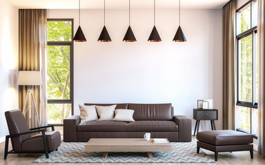 Modern living room decorate with  brown leather furniture 3d rendering image.There are large window overlooking to nature and forest