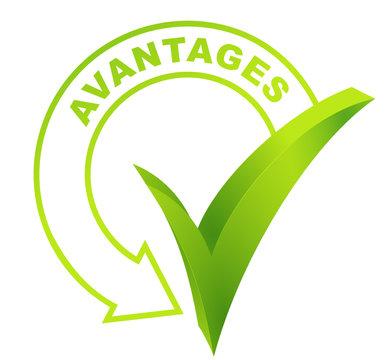 avantages sur symbole validé vert