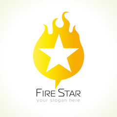 Star logo in flames. Fiery and flaming gold colored star shape, symbol of winners and celebrities in musics, sports, fashions in any nominations.