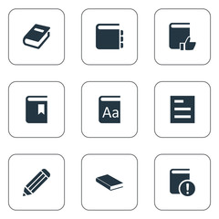Vector Illustration Set Of Simple Books Icons. Elements Recommended Reading, Book Cover, Journal And Other Synonyms Note, Catalog And Favored.
