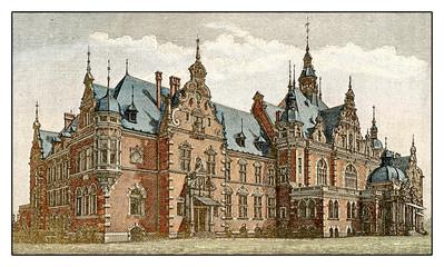 Buchhändlerhaus in Leipzig,XIX century illustration