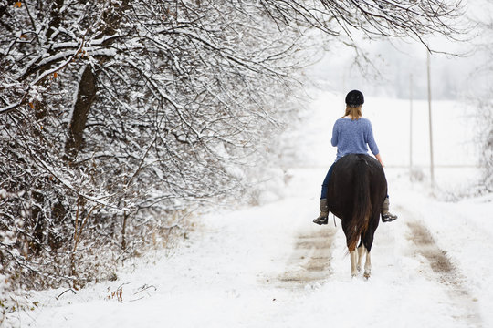 Young woman riding horse in snow, rear view