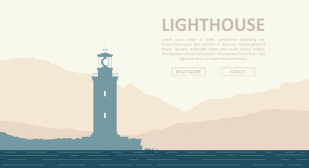 Landscape with huge lighthouse at seashore over mountain range. Vector illustration.