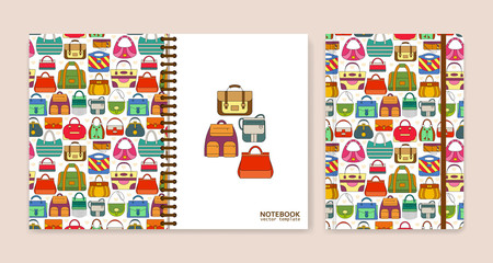 Cover design for notebooks or scrapbooks with hand bags