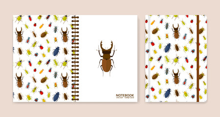 Cover design for notebooks or scrapbooks with bugs