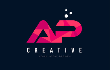 AP A P Letter Logo with Purple Low Poly Pink Triangles Concept