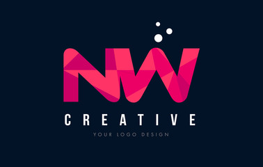 NW N W Letter Logo with Purple Low Poly Pink Triangles Concept