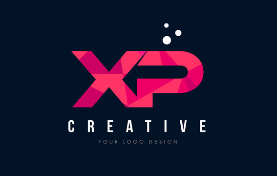XP X P Letter Logo with Purple Low Poly Pink Triangles Concept