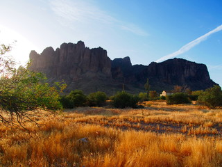 Sunrise at the Lost Dutchman State park. Tonto National Forest, Arizona
