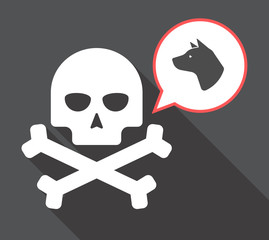 Long shadow skull with  a dog head