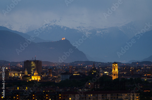 Torino, blue hour skyline with the Sacra di San Michele in the ...