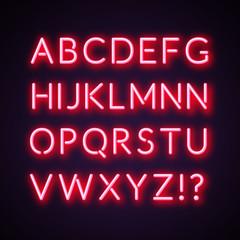 Red/pink neon alphabet. Vector stock.