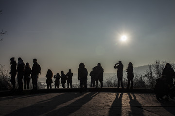 Silhouettes of Tourists in prague on viewpoint czech Republic