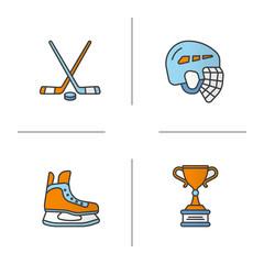 Hockey equipment color icons set